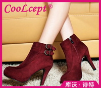 CooLcept Free shipping ankle half short natural real genuine leather boots women snow boot high heel shoes R4743 EUR size 34-39