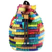 Designer genuine leather bags cute backpacks for teenage girls luxury brand name school bag made of really sheepskin