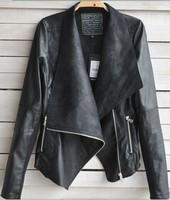 Spring Autumn 2014 Hot Sell New Designers Europe&America Fashion Women Coat Slim Short PU Leather jacket Women black Plus size