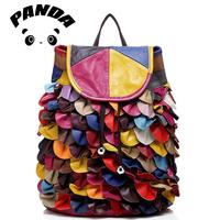 Real Sheepskin Women Tactical Backpack Designer Candy Color Blocks Genuine Leather Rucksack School Bag For Teenage Girls