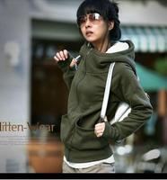 New 2014 Women's Long Sleeve Hoodie Cardigans Winter Coat Girls'  Hoodie Solid Casual Sports Wear Track Hoodie Sweatshirt M68