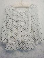Ms long-sleeved chiffon unlined upper garment Lace dot shirt The tea collar sleeve women clothes