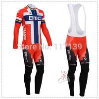NEW! 2014 BMC Team Thermal Fleece Cycling Clothing/Cycling Wear/Long Sleeve Cycling Jersey (BIB) Suit-1G Free Shipping!