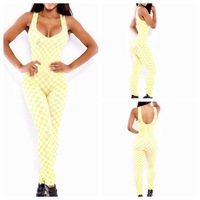 New 2014  Bandage Bodycon Jumpsuit Sexy Rompers Womens Plaid Jumpsuit Overalls Girl Fashion Clubwear Prom Party Bodysui
