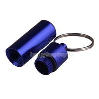 Aluminum Alloy Outdoor First Aid Small Gallipot Cartridge Keychain Blue H1E1