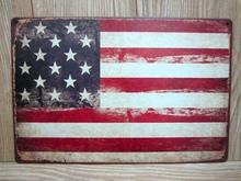 Bandeira americana imagens adesivos de parede Decor ferro Retro sinais de lata de Metal placas(China (Mainland))