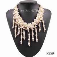 2014 European & USA Fashion Women Jewelry Gold Plated Chain Luxury Imitate Pearl Necklace Brand Choker