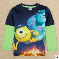 2014 autunm monster university boy tshirt kids cotton long sleeve stripe cartoon tshirt boy top fashion wear
