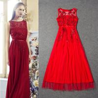 2014 summer fashion vestido de festa women's embroidered lace dress elegant maxi full dress evening dress