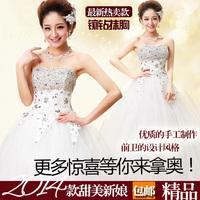 2014 summer plus size maternity wedding dress formal dress white diamond slim tube top wedding dress