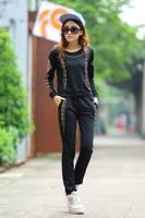 hot sale 2014 Women sweatshirt suits Cool Skull sport suit women Rivet O-neck hoody high quality