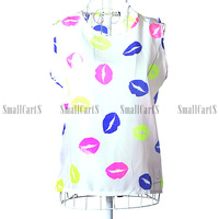Hot  2014 New Women's Blouse Fashion Temperament Print O-Neck Sleeveless T-shirt Summer All-match Loose Plus Size Chiffon Vest
