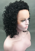 LACE FRONT Wig Thick Twirly Black Free shipping