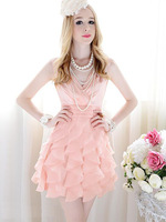 Free shipping !  European and American high-end fashion boutique elegance pink flounced sleeveless v-neck evening dress