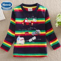 NOVA Wholesale new 2014 free shopping baby&kids cute boy t shirt printing car stripe small children's clothing 100% cotton A2129