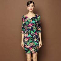 women new 2015 flowers printed vintage knitted plus size xl xxl xxxl 3xl three quarter sleeve high waist pullovers bodycon dress