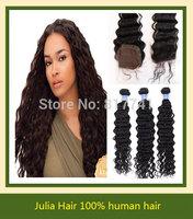 Good quality Aliexpress 6A  Brazilian Virgin Lace Closure With Hair Bundles Julia Unprocessed Human Hair Extension 4pcs lot