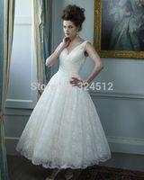 Vintage Elegant Tea-Length Lace Short Wedding Dress Custom Made  All Size Vestido De Noiva