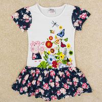2014 New Summer Children Dressing Short Sleeve Peppa Pig Cartoon Kids Pure Cotton O-Neck Splicing Shivering Childs Dresssy