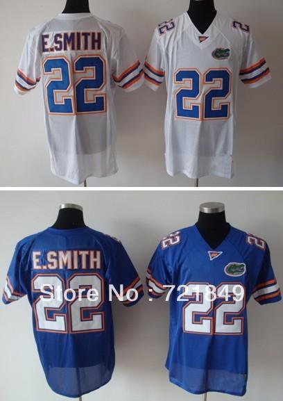 Free ship NCAA football jerseys Florida Gators #22 E.Smith Blue white College jersey embroidery logo,can mix order(China (Mainland))