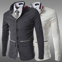 Free Shipping 2014 Autumn Winter Mens Dress Blazers Unique Collar Design Single Breasted Casual Slim Fit Brand Suit jacket ZA11