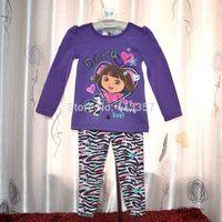 kids clothes sets dora purple long sleeve t shirts tops + leopard stripe pants two pieces 100% cotton girls clothing sets