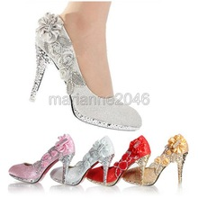 2014 New Fashion Women Girl Wedding Bridal Glitter Fake Crystal Rose Flower Evening Party High Heels Court Shoes(China (Mainland))
