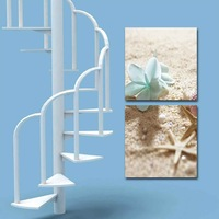 2 Panel modern wall art home decoration frameless oil painting canvas prints pictures P652 beach landscape blue orchid starfish