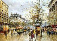 handpainted impressionist street scenery oil painting on canvas modern art decor ST1001 50x70cm