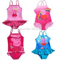 2014 New Peppa Pig Girls Swimmer swim wear bather peppa pig kids one piece swimsuit 4pcs/lot