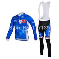 NEW! 2014 FDJ Team Thermal Fleece Cycling Clothing/Cycling Wear/Long Sleeve Cycling Jersey (BIB) Suit-3G Free Shipping!