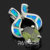 Green Peridot Pacific Blue Fire Opal Silver Fashion  Jewelry Women & Men Pendant OP246LS  Wholesale & Retail