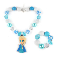 1 Kids Jewelry Set(Chunky Necklace&Bracelet) Snow Queen Elsa Bubblegum Chunky Necklace Girls Chunky Birthday Necklace