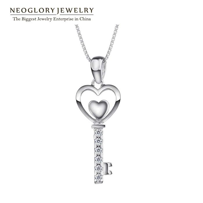 Neoglory Fashion Zircon Sterling Silver 925 Necklace For Women Heart Key Designer Pendant Jewelry Wholesale Brand Brazil 2014(China (Mainland))