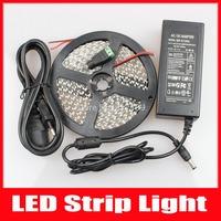 LED Strip 3528 SMD 120 Leds/m 5m 600 Led 12V fita LED Light Luz Lamps + 12V 5A Power Supply + DC Connector,Free Shipping