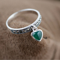 MN20396 100% real pure 925 sterling silver rings women elegant silver jewelry agate heart ring best gift  free shipping