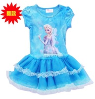 Free Shipping 2014 Summer New Fashion Frozen Kids Princess Dresses For Girls 5pcs/lot Wholesale