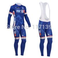 NEW! 2014 FDJ Team Thermal Fleece Cycling Clothing/Cycling Wear/Long Sleeve Cycling Jersey (BIB) Suit-2G Free Shipping!