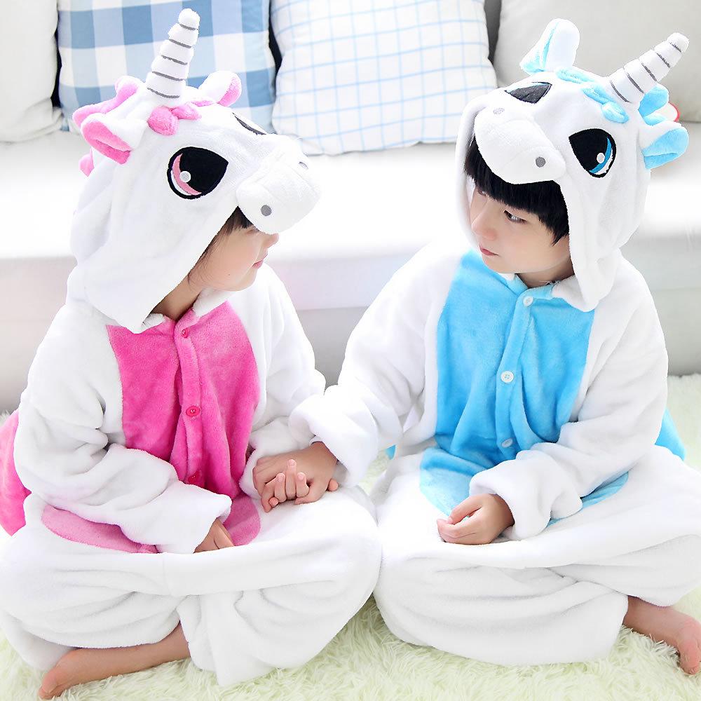 Halloween Costumes Flannel Animal Pink Blue Unicorn Onesie Pajamas Cartoon Autumn Winter Children Girl and Boy Cosplay Costumes(China (Mainland))