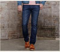 Men Fashion Straight Leg Jeans 100% Cotton Men's Long Pants Slim Fit Summer Clothing Blue Light Blue