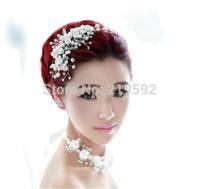 White Polymer Clay Tiaras Crown with Rhinestone Bridal Hair Wear Bridal Hair Jewelry Decoration