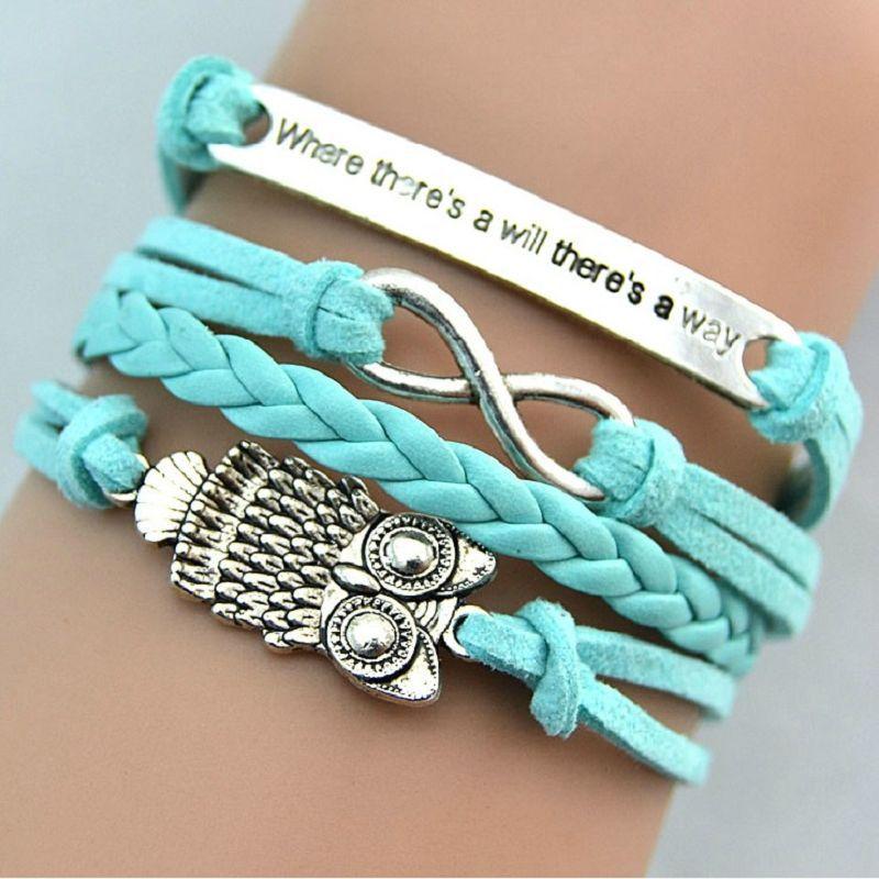 Woman lady blue diy hot infinity owl leather cute charm bracelet
