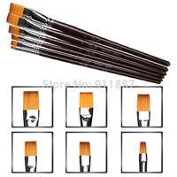 6pcs/set 3 Sizes Acrylic UV Gel Nail Art Flat Pen Brush Dotting Draw Paint Salon Tool Set New Free Shipping