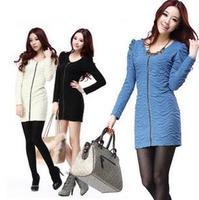 2014 new women's dress autumn winter  fashion casual cotton zipper dress Lady dress h86