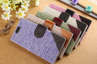 high quality Unique countryside Linen Fresh style Wallet Flip Stand Cover Leather Case For Huawei Ascend P7 free shipping