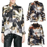 2014 Newest Spring and Summer Fashion Oversize Chic Europe Women's Landscape Floral Print Tops Blouse Shirt S M L