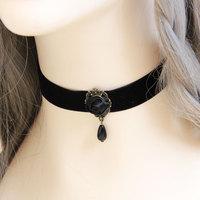 New Handmade Gothic Flower Rose Bead Pendant Black Ribbon Choker Short Necklace Collar Lolita Punk Vintage Retro Fashion Jewelry
