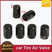 4PCS/Set Car Wheel Aluminum Alloy Tire Valve Caps Tyre Valve stems Black  free shipping