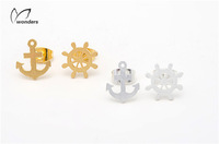 New Fashion Nautical Jewelry Metalwork  Funky Anchor and Rudder  Stud Earring Rudder Post Sailboat Earrings