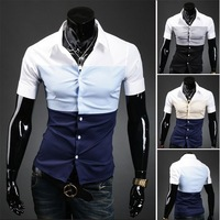 New Men Korean Slim personality simple solid color stitching 100% cotton short-sleeved shirt